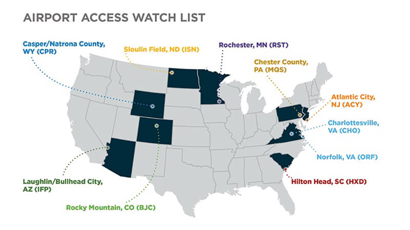AOPA Announces Airport Access Watch List